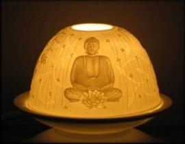 Porseleinen sfeerlicht / theelichthouder Zen Boeddha