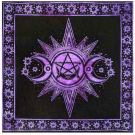 Altaarkleed Gothic Wicca Occulte Drievoudige Maan met Sterren Paars - 105 x 105 cm