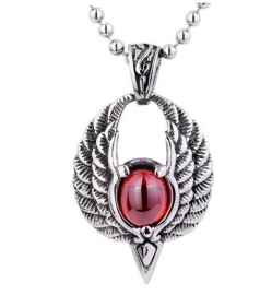 Engelenvleugels met rood steen ketting 316 titanium staal - 2.5 x 4 cm
