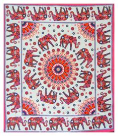 Bedsprei, wandkleed, grand foulard Olifant Mandala Rood Wit - 210 x 220 cm