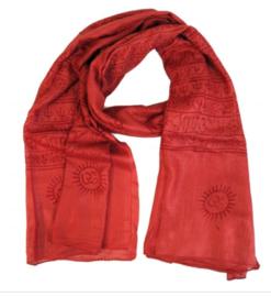 Benares-sjaal Indiaas Hindu Varanasi oranjerood - 90 x 180 cm