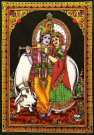 Wall tapestry Krishna en Radha with holy cow