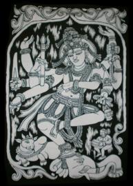 Indiase wandkleed muurkleed katoen dansend Shiva zwart wit - c.a.  80 x 110 cm
