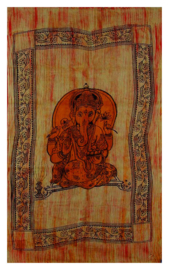 Bedsprei, wandkleed Ganesha oranje dik met franjes 120 x 220 cm
