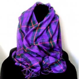 Paarse geruite sjaal