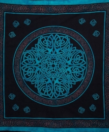 Bedsprei / wandkleed Keltisch mandala turquoise bruin  200 x 220 cm