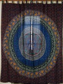 Gordijnen mandala blauw bruin - 230 x 100 cm