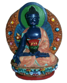 Medicijn Boeddha Medicine Buddha handgeschilderde polystone 11.5 cm hoog