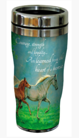 RVS Thermos reisbeker - Rennende Paarden - Courage Strength Loyalty - 19,5 cm - 47 cl