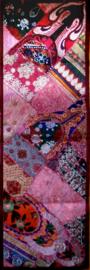 Indiase wandkleed tafelkleed lapjesdessin burgundy 140 x 45 cm