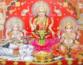 Hindu poster Lakshmi Ganesha Saraswati 5 - 23 x 29 cm