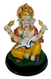 Ganesha gekleurd met boek 14 cm hoog