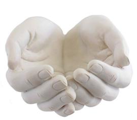 Genezende handen - schaal theelichthouder multifunctioneel beeld - 15 x 12 x 7 cm