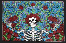 Een persoons bedsprei, wandkleed Catrina Day of the Dead Skelet - 120 x 220 cm