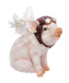 When Pigs Fly Varken met Vleugels Steampunk beeld - 15.5 cm hoog