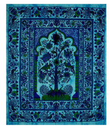 Bedsprei  wandkleed Levensboom Tree of Life turquoise 200 x 220 cm dessin 3