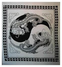 Bedsprei, wandkleed, grand foulard Yin Yang Feng Shui Chinese Draken Zwart Wit - 220 x 240 cm