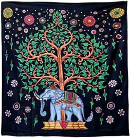 Bedsprei blauwe olifant en boom 220 x 210 cm