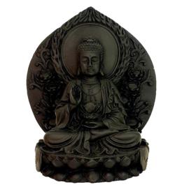 Thaise Boeddha zittend op lotustroon met achterblad zwart polystone 12 x 14 cm