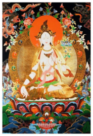 Tibetaanse thanka Witte Tara op lotus - 60 x 90 cm