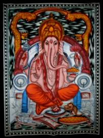 Indiase muurkleed wandkleed Ganesha zittend gekleurd dessin 1 c.a.  80 x 110 cm