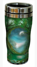 RVS Thermos reisbeker - Wicca Groene Man - Day and Night - 19,5 cm - 47 cl