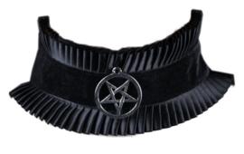 Fantasmagoria Witchcraft choker zwart met pentatgram