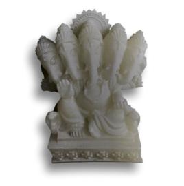 Ganesha Multihoofd Wit 11 cm hoog