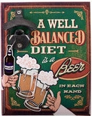 Beer bottle opener  - balanced diet - 23 x 18 cm