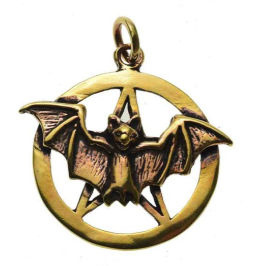 Ketting brons Vleermuis in Pentagram - 3 cm doorsnee