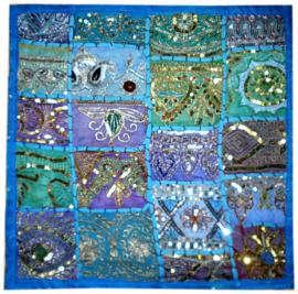 Indiase kussenhoes lapjesdessin met glitters turquoise - 40 x 40 cm