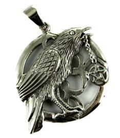 925 zilveren kettinghanger Raven with Pentagram - dessin Lisa Parker 3 x 2.7 cm