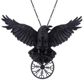 Restyle nekketting met zwarte raaf - Helm of Awe - Noorse talisman