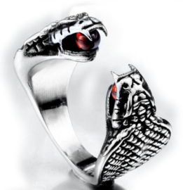 Tweekoppige cobra slang  ring 316 titanium staal maat 20
