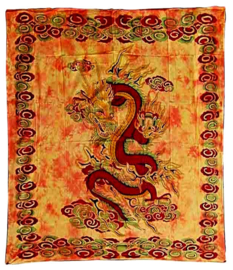 Bedsprei Chinese Draak oranje 220 x 210 cm