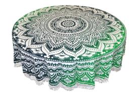 Ronde mandala doek bedsprei wandkleed tafelkleed vloerkleed groen - 180 cm doorsnee