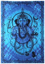 Bedsprei / wandkleed Ganesha blauw - 145 x 190 cm