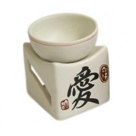 Porseleinen witte oliebrander Chinese liefdessymbool