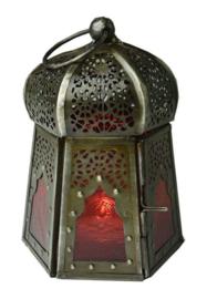 Lantaren rood glas - paddenstoelvormig - 12 x 9 cm