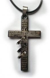 Zwart chirurgisch stalen kruis met gebed 5 cm lang 3
