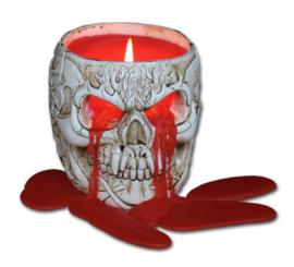 Spiral Direct - Huilende Doodskop - Gothic kaarsenhouder met rode kaars - 13 x 10 x 9.5 cm
