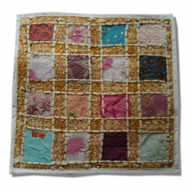 Cushion cover patchwork Indian cotton white
