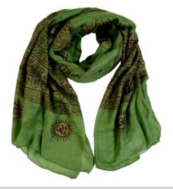 Benares-sjaal Indiaas Hindu Varanasi groen- 60 x 120 cm