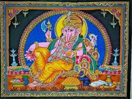 Wandkleed Hindu God Ganesha liggend blauw achtergrond - 80 x 110 cm