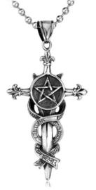 Luck and Holy Cross kruis met pentagram biker sieraad 316 titanium staal - 6.5 x 3.5 cm