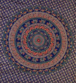 Bedsprei, wandkleed, grand foulard Olifant Mandala Donkerblauw - 210 x 220 cm