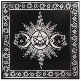 Altaarkleed Gothic Wicca Occulte Drievoudige Maan met Sterren Wit - 105 x 105 cm