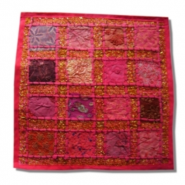 Cushion cover patchwork Indian cotton puce