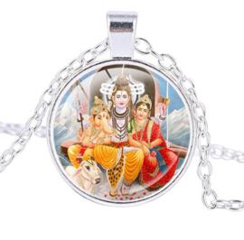Glazen hanger met ketting Ganesha Shiva Parvati 2