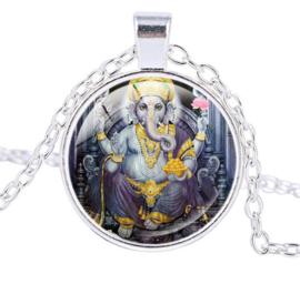 Glazen hanger met ketting Ganesha dessin 10